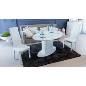 Обеденный раздвижной стол Марсель (СМ(Б)-102.01.12(2)), цвет Белый/Стекло белое глянец