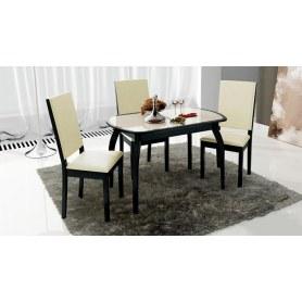 Обеденный раздвижной стол Ницца ( СМ-217.01.15), цвет Венге/Кожзам бежевый/Стекло с рисунком коричневое