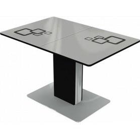 Кухонный стол Сардиния, Рисунок квадро (стекло белое/черный/черный)