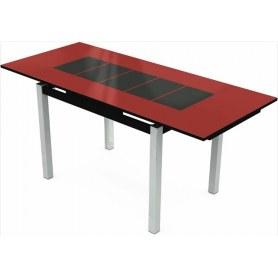 Кухонный раздвижной стол Шанхай исп.2 хром №10, Рисунок каре (стекло красное/черный/черный)