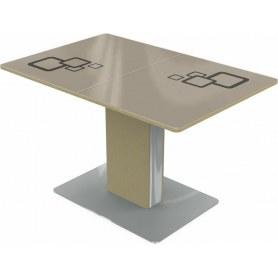 Кухонный стол Сардиния, Рисунок квадро (стекло молочное/коричневый/дуб выбеленный)
