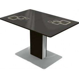 Кухонный стол Сардиния, Рисунок квадро (стекло коричневое/молочный/венге)