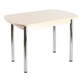 Кухонный обеденный стол ПГ-05 ЛДСП, дуб молочный ЛДСП/39 прямые трубы хром