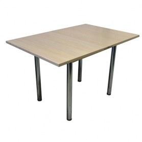 Кухонный обеденный стол раскладной Дабл-1 ЛДСП, 39 прямые хром