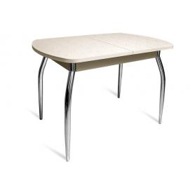 Кухонный обеденный стол ПГ-07 ПЛ1, бежевые цветы/дуб молочный ЛДСП/35 гнутые металл хром