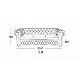 Прямой диван Честер 3М (седафлекс)