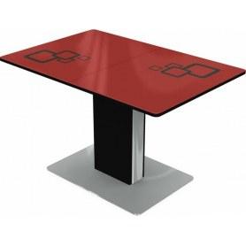 Кухонный стол Сардиния, Рисунок квадро (стекло красное/черный/черный)
