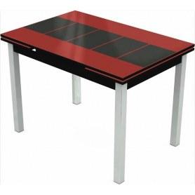 Кухонный раздвижной стол Шанхай исп.1 хром №10, Рисунок каре (стекло красное/черный/черный)