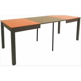 Кухонный раздвижной стол Токио дерево №3 (стекло оранжевое/венге)