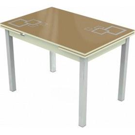 Кухонный раздвижной стол Шанхай исп.2 хром №10, Рисунок квадро (стекло капучино/белый/белый)