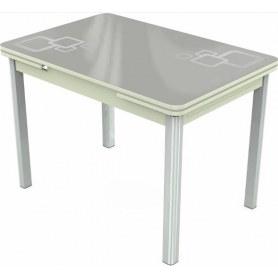 Кухонный раздвижной стол Пекин исп.2 хром №11, Рисунок квадро (стекло белое/металлик/белый)