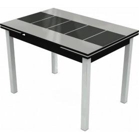 Кухонный раздвижной стол Шанхай исп.1 хром №10, Рисунок каре (стекло белое/черный/черный)