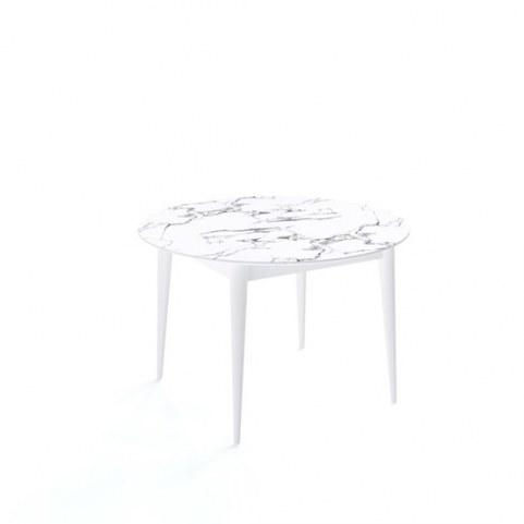 Кухонный раздвижной стол Kenner W1200 (Белый/Мрамор белый)