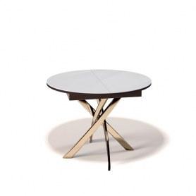 Кухонный раздвижной стол Kenner R1100 (Золото/Венге/Стекло белое глянец)