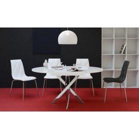Кухонный раздвижной стол Kenner R1100 (Хром/Белое/Стекло белое глянец)