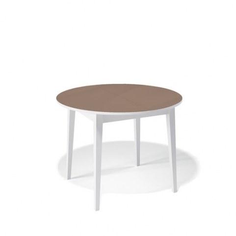 Кухонный раздвижной стол Kenner 1000M (Белый/Стекло капучино глянец)