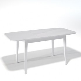 Кухонный раздвижной стол Kenner 1200M (Белый/Стекло белое сатин)