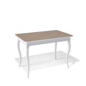 Кухонный раздвижной стол Kenner 1100C (Белый/Стекло капучино сатин)