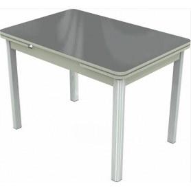 Кухонный раздвижной стол Пекин мини хром №11 (стекло серое/светло-серый)