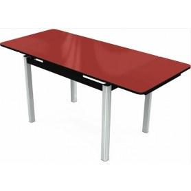 Кухонный раздвижной стол Пекин исп.1 хром №11 (стекло красное/черный)