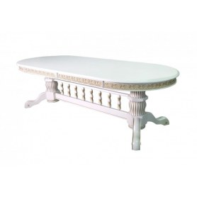Кухонный стол Милорд 110х260х330, Слоновая кость+патина золото