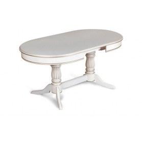 Обеденный стол Элегия 4 Белая эмаль с золотой патиной