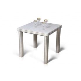 Обеденный раздвижной стол Соната Белая эмаль с золотой патиной