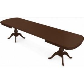 Обеденный раздвижной стол Фабрицио-2 исп. Мыло большой 3 вставки, Тон 3 (Морилка/Эмаль)