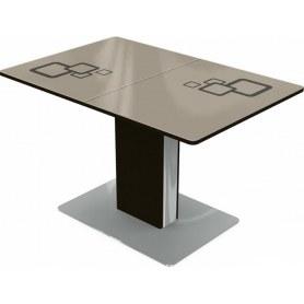 Кухонный стол Сардиния, Рисунок квадро (стекло молочное/коричневый/венге)