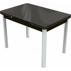 Кухонный раздвижной стол Пекин исп.2 хром №11 (стекло коричневое/венге)