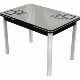 Кухонный раздвижной стол Пекин исп.2 хром №11, Рисунок квадро (стекло белое/черный/черный)