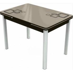 Кухонный раздвижной стол Пекин исп.2 хром №11, Рисунок квадро (стекло молочное/коричневый/венге)