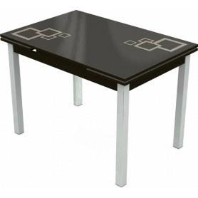 Кухонный раздвижной стол Шанхай исп.1 хром №10, Рисунок квадро (стекло коричневое/молочный/венге)