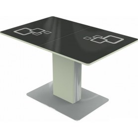 Кухонный стол Сардиния, Рисунок квадро (стекло черное/белый/белый)