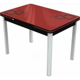 Кухонный раздвижной стол Пекин мини хром №11, Рисунок квадро (стекло красное/черный/черный)