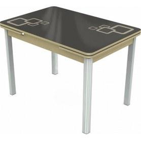 Кухонный раздвижной стол Пекин исп.1 хром №11, Рисунок квадро (стекло коричневое/молочный/дуб выбеленный)