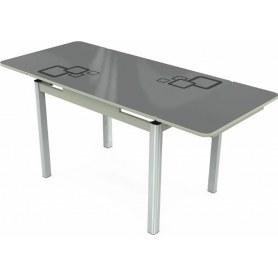 Кухонный раздвижной стол Пекин исп.2 хром №11, Рисунок квадро (стекло серое/черный/светло-серый)