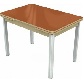 Кухонный раздвижной стол Пекин исп.2 хром №11 (стекло оранжевое/дуб выбеленный)