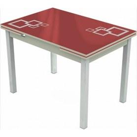 Кухонный раздвижной стол Шанхай исп.2 хром №10, Рисунок квадро (стекло красное/металлик/светло-серый)