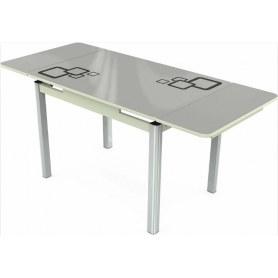Кухонный раздвижной стол Пекин мини хром №11, Рисунок квадро (стекло белое/металлик/белый)