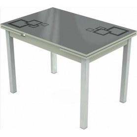 Кухонный раздвижной стол Шанхай исп.2 хром №10, Рисунок квадро (стекло серое/черный/светло-серый)