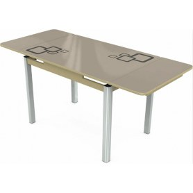 Кухонный раздвижной стол Пекин мини хром №11, Рисунок квадро (стекло молочное/коричневый/дуб выбеленный)