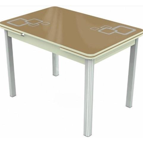 Кухонный раздвижной стол Пекин исп.2 хром №11, Рисунок квадро (стекло капучино/белый/белый)