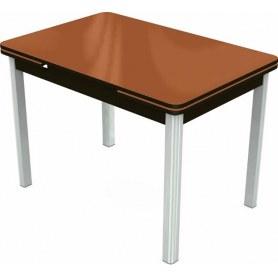 Кухонный раздвижной стол Пекин исп.2 хром №11 (стекло оранжевое/венге)
