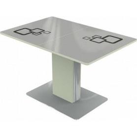 Кухонный стол Сардиния, Рисунок квадро (стекло белое/черный/белый)