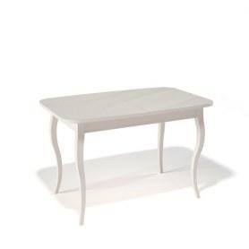 Кухонный раздвижной стол Kenner 1200C (Бук/Стекло крем глянец)