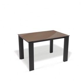 Кухонный раздвижной стол Kenner L1250 (Черный/Стекло капучино глянец)