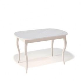 Кухонный раздвижной стол Kenner 1300C (Бук/Стекло белое сатин)