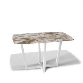 Кухонный стол Kenner X1400 (Белый/Стекло песочное)