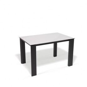 Кухонный раздвижной стол Kenner L1250 (Черный/Стекло белое глянец)